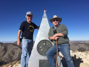 Clif Ladd and me on Guadalupe Peak. Highest point in Texas. Dec. 2017