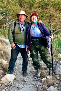 2019, Dec. Brenda and Clif Ladd, Laguna Meadow Trail, Chisos Mtns, Big Bend,TX